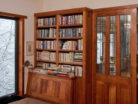 Black Acacia library cabinets and trim