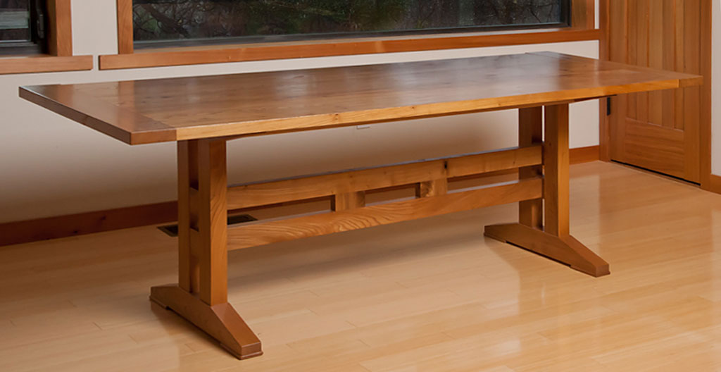 Arts And Crafts Style Red Elm Trestle Table