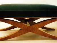 Art Deco-style bench with mohair upholstery