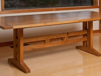 Arts and Crafts-style red elm trestle table