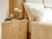 Birds-eye maple bed and nightstand